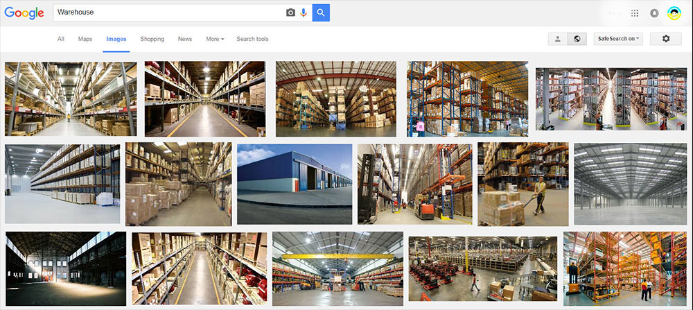 warehouse search results