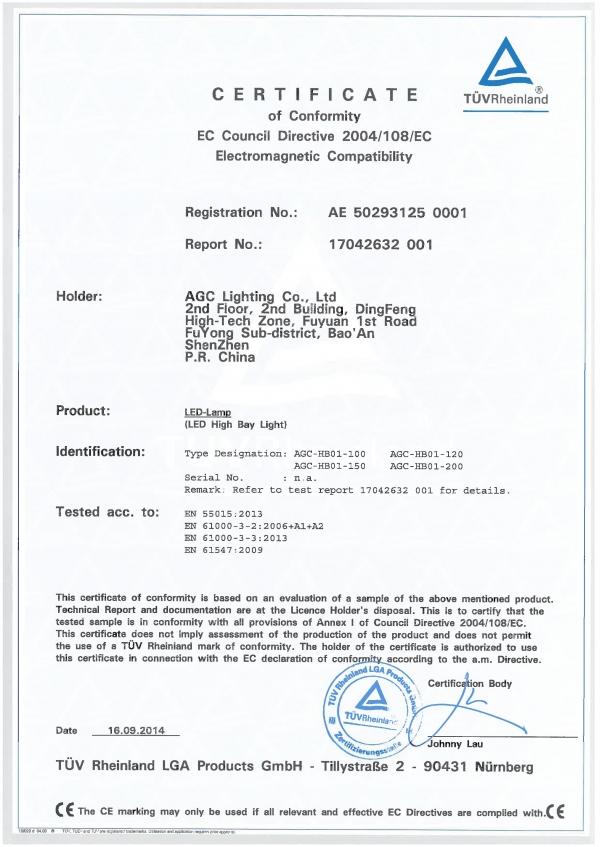 Agc Lighting Led High Bay Emc Certification Agc Lighting